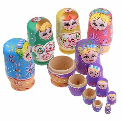 5Pc Wooden Dolls Russian Nesting Babushka Matryoshka Hand Painted Toy Xmas Gift