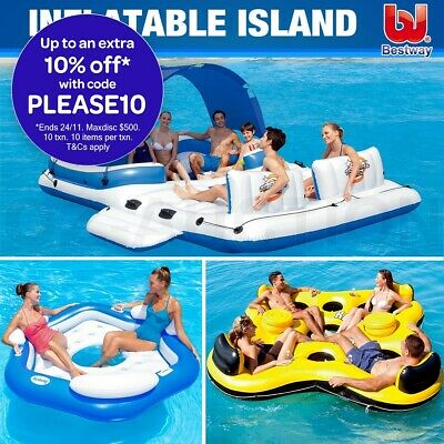 Bestway Inflatable Floating Island 3-6 person Tropical Breeze Adult Floats Pool