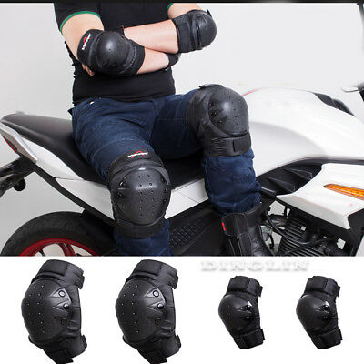 4Pcs Motorcycle Motocross Racing Knee & Elbow Guards Protective Pads Armor Gear