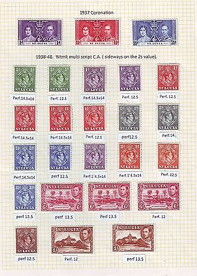 St Lucia - Gvi Collection 1937-51 On 4 Album Pages With Perf Vars All Mm