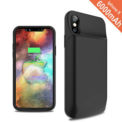 Black 6000mAh Extra Battery Bank Charger Case Cover For iPhone X 8 7 6 5S 5C SE