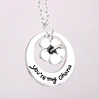 You're My Ohana Pendant Flower Charms Necklace Lilo And Stitch Gift Bag Or Box