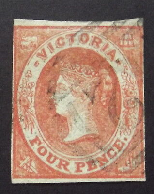 VICTORIA - 1857-60 4d RED  EMBLEMS IMPERF - USED