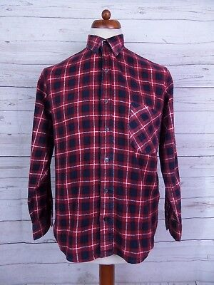 Vtg 90s Deep Red Checked Plaid Cotton Flannel Shirt Indie Grunge -S- DT18