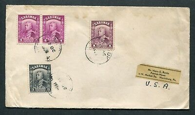 1938 Malaya Sarawak rate 12c Mixed stamps on cover ??  to USA (Pmks not clear??)