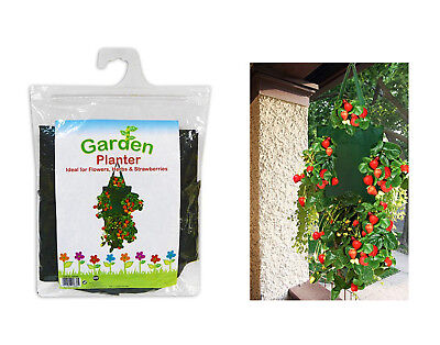 Hanging Planting Bag Garden Strawberries Herbs Flower Planter Pot 25x45cm
