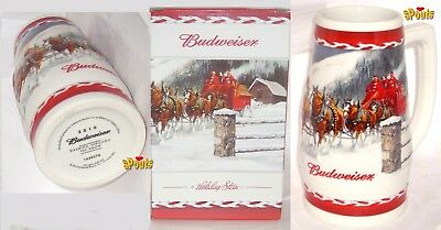 2010 Budweiser Christmas Bud Dashing Snow Clydesdales Horses Beer Stein-Mug+Box