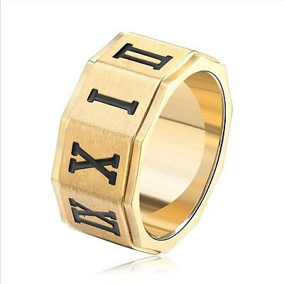 Black Roman Numerals Stainless Steel Cool Men Ring Punk Unisex Couple Ring