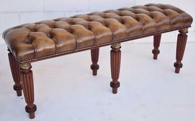 Large Deep Buttoned Leather Stool