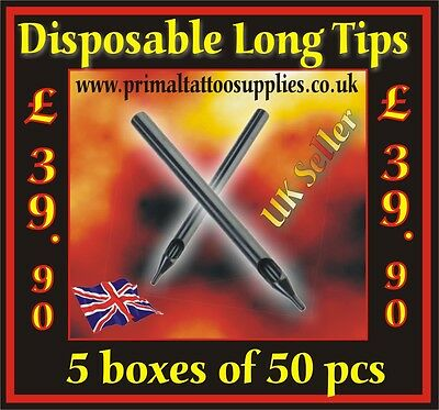 5 Boxes of Disposable Long Tips (250 Tips in total) - (Tattoo Supplies -Needles)