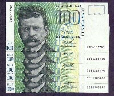 100 Markkaa From Finland 1986 5 Pcs With Consecutive Numbers Unc