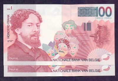 100 Francs From Belgium 2 Pcs With Consecutive Numbers Unc