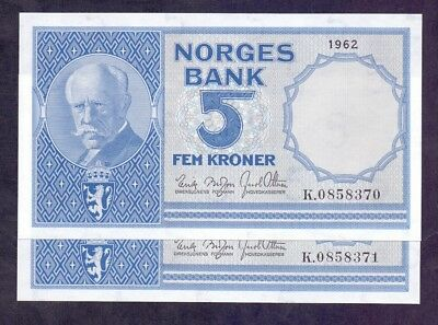 5 Kroner From Norway 1962 2 Pcs With Consecutive Numbers Unc
