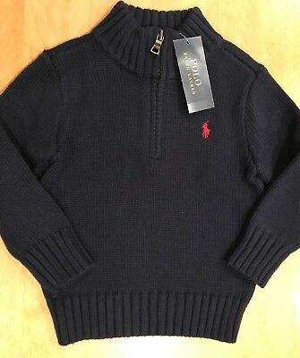 Nwt Polo Ralph Lauren Boys Size 2T Logo Long Sleeve Navy Blue Sweater Red Pony