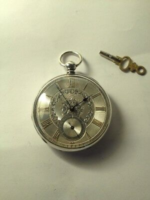 Antique Silver Pocket Watch 'Roberts Improved Barrel' C1890 With Silver Dial+key