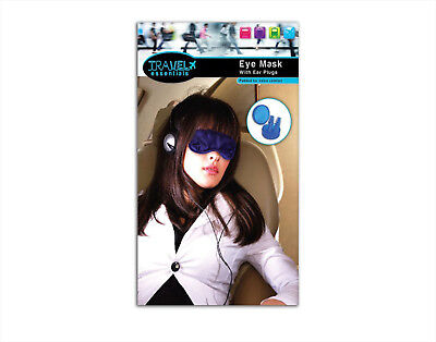 Padded Eye Mask with Ear Plugs Travel Car Plane Train Noise Blockers
