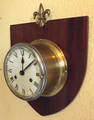 Vintage Schatz Mariner Brass Ships Bulkhead Or Wall Clock - Fully Serviced