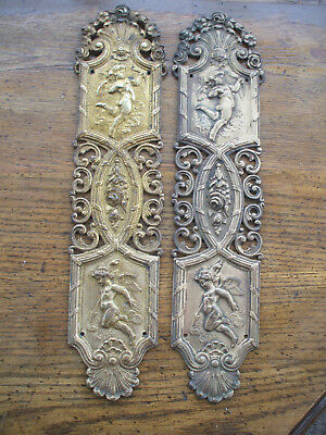PAIR ANTIQUE HIGHLY DECORATIVE SOLID BRASS DOOR-PULLS w/ CHERUBS Rd.No. & MARK