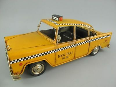 XL Blechmodell: New York Taxi - Yellow City Cab 30 cm lang - Shabby Retro