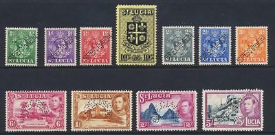 """ST LUCIA 1938, """"SPECIMEN VALUES"""" ½d-10sh, VF NEVER HINGED SG#128s+ (SEE BELOW)"""