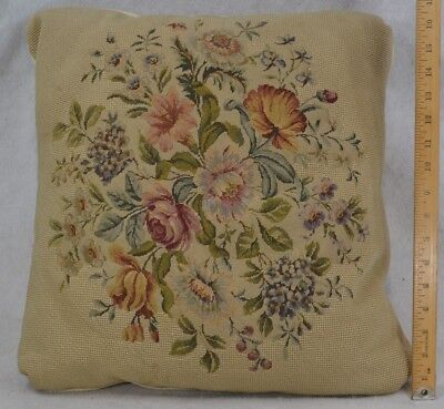 needlepoint petit wool hand stitched pillow down 17 in. antique original
