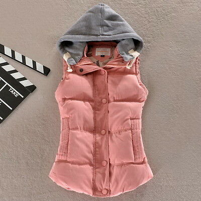 New Women's Winter Slim Waistcoat Cotton Coat Vest Padded Warm Hooded Jacket