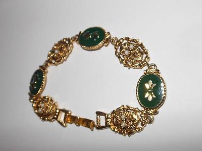 Vintage Signed ART Gold Tone Metal and Green lacquer detail Bracelet