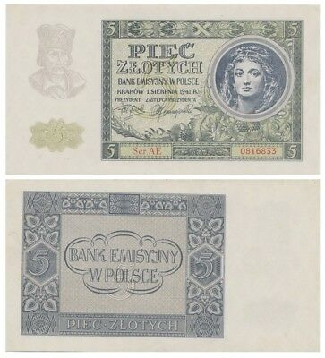 Five Zlots Polish banknote issued in 1941 AE aunc