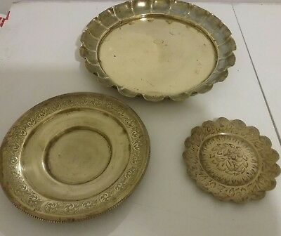Brass plates collection of three