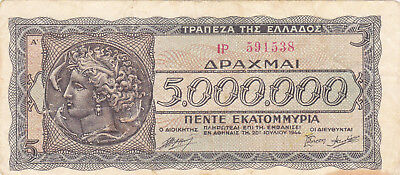 5000 000 Drachmai Fine Banknote From German Occupied Greece 1944!pick-128