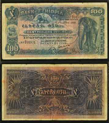 Rare 1932 Ethiopia 100 Thalers  Banknote Elephant Image Pick 10 PMG Very Fine 25