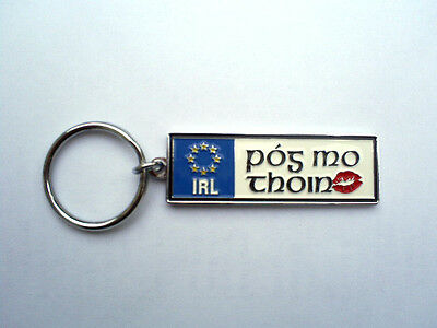 Ireland Euro License Plate Key Ring Chain Pog Mo Thoin Kiss My Ass In Irish!!