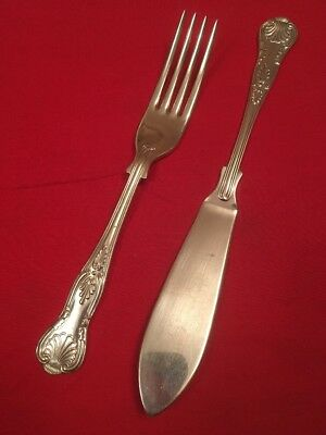 Vintage Silver Plated King's Pattern Fish Knife & Fork c.1910-1939