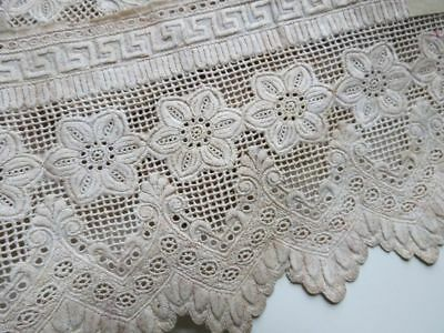 1860 Antique WHITEWORK Lace Trim Embroidery Ayrshire Greek Key Floral 1.9 yards