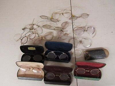Antique Lot Of Victorian Eye Glasses & Cases Majority Gold Filled  9.8 Ounces