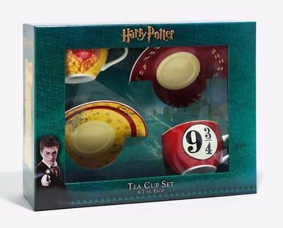 Harry Potter Ceramic 2 Tea Cup Saucer Set Train Platform 9 3/4 The Marauders Map