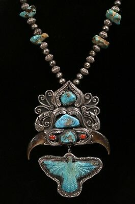 Large Native American Silver, Turquoise, Coral & Bear Claw Necklace-Zuni Navajo