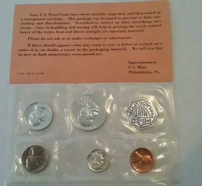1963 US Mint Silver Proof Set 5 Gem Coins in Opened Original Envelope