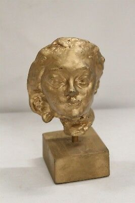 Mid Century Modern Golden Lady Head Bust Pottery Sculpture Signed Eames Era