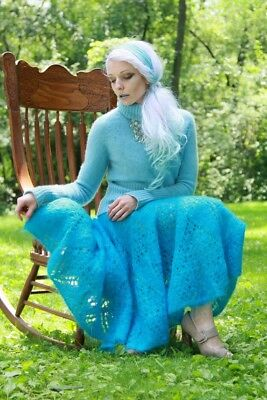 MOHAIR SWEATERCOAT with 100% CASHMERE TURTLENECK & MOHAIR SWEATERSKIRT & HAT