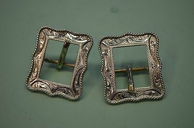 "FLEMING 214 STERLING SILVER Horse Bridle Headstall Decorative Buckles 3/4"" belt"