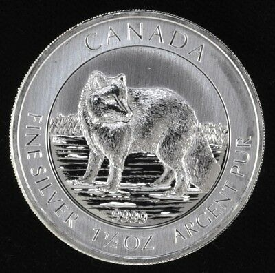 2014 Canada Wildlife Series 1.5 oz Silver $8 Arctic Fox (b164y)
