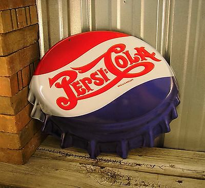 Pepsi Cola Bottle Cap 3D Embossed Metal Tin Sign Vintage Bar Soda Pop Large New