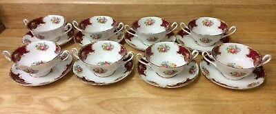 Vintage Shelley Duchess Two Handled Soup Bowls And Saucers X 8