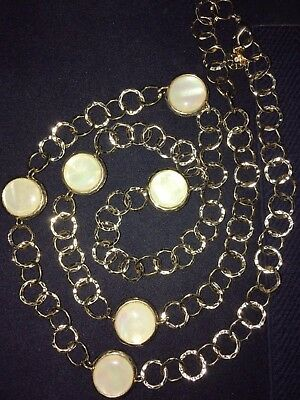 Vintage Monet Faux Mother of Pearl Lucite Disc Beads Gold Tone