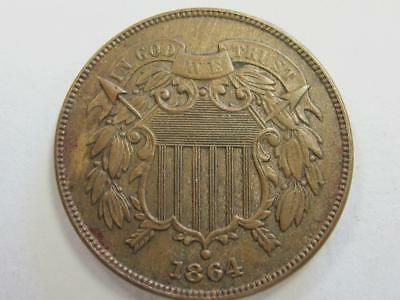 1864 Two Cent Piece Full Motto Readable Nice Details  Great For The Book