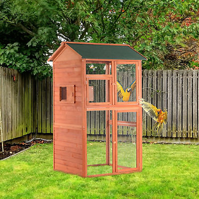 "PawHut 71"" Wood Bird Cage Large Parrot Finch Macaw Cockatoo Pet Supply House"