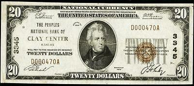 Clay Center, KS - $20 1929 Ty. 1 The Peoples NB Ch. # 3345