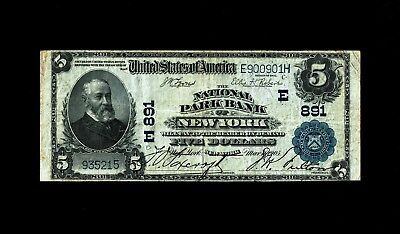 New York, NY - $5 1902 Plain Back Fr. 598 The National Park Bank Ch. # (E)891