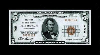 Pittsburgh, PA - $5 1929 Ty. 1 The Union NB Ch. # 705 ~~Choice Uncirculated.